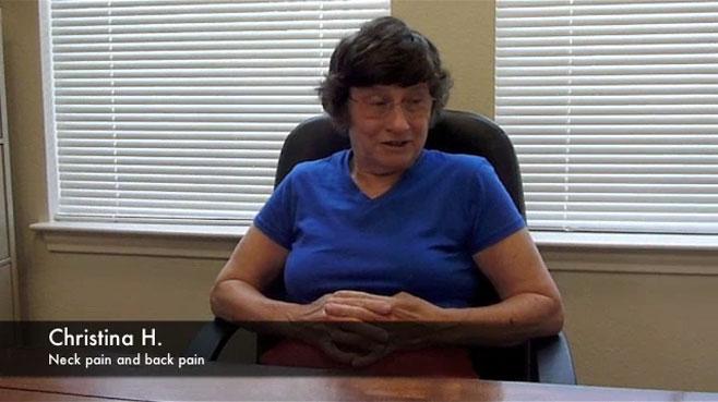 <!-- wp:paragraph --> <p>Christina H. – Neck and Low Back Pain</p> <!-- /wp:paragraph -->